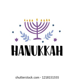 Hanukkah hand drawn lettering typography with menorah. Jewish holiday. Festive poster design. Template for banner, greeting card, flyer. Vector illustration