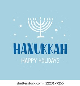 Hanukkah - hand lettering. Jewish holiday. Celebration text with menorah candles and star David. Design for greeting card, banner, invitation, flyer. Vector illustration.