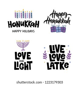 Hanukkah - hand lettering set. Jewish holiday. Celebration quote with menorah candles and star David. Design for greeting card, banner, invitation, flyer. Vector illustration.