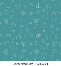 Hanukkah holiday flat design white thin line icons seamless pattern. Vector eps10 illustration.