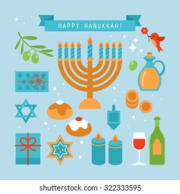 Hanukkah holiday flat stylish icons set. Vector illustration