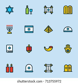 Hanukkah icons set jewish holiday hanukkah symbol set