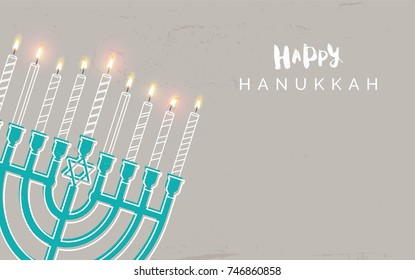 Hanukkah, the Jewish Festival of Lights, festive background with menorah and golden lights.  Golden, beige and turquose colors. Vector illustration