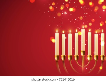 Hanukkah, the Jewish Festival of Lights, festive background with menorah and golden lights. Vector illustration
