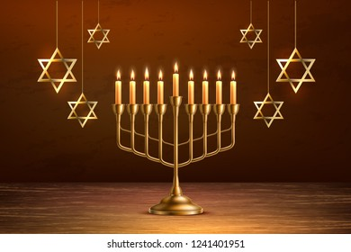 Hanukkah jewish holiday background with realistic golden menorah candelabrum with candles, handing David stars sign of Israel. Traditional hebrew celebration invitation design. Vector illustration