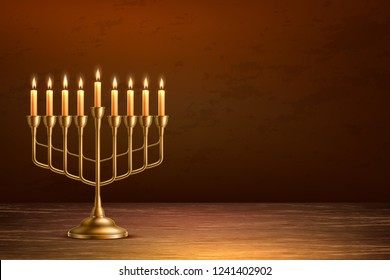 Hanukkah jewish holiday background with realistic golden menorah candelabrum with candles on wooden table backdrop. Israel traditional hebrew celebration invitation design. Vector illustration