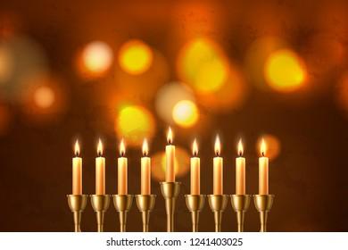 Hanukkah jewish holiday background with realistic seven candles closeup of hebrew menorah candelabrum on blurred bokeh backdrop. Israel traditional celebration invitation design. Vector illustration