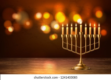 Hanukkah jewish holiday background with realistic golden menorah candelabrum with candles on blurred bokeh backdrop. Israel traditional hebrew celebration invitation design. Vector illustration