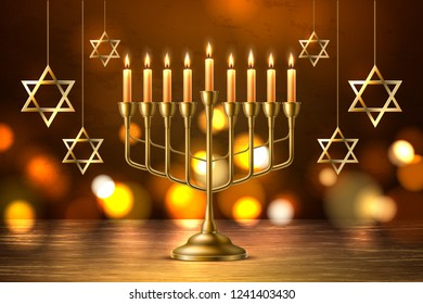 Hanukkah jewish holiday background with realistic golden menorah candelabrum with candles, handing David stars sign of Israel. Traditional hebrew celebration invitation design. Vector illustration
