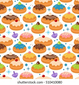 Hanukkah jewish holiday seamless pattern background for graphic and web design
