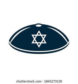 hanukkah, jewish kippah with star silhouette icon vector illustration