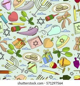 Hanukkah line art design vector illustration seamless. Separate objects. Hand drawn doodle design elements.