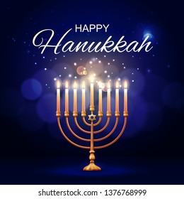 Hanukkah menorah 3d vector design of jewish lamp with flaming candles and Star of David. Judaism religion Festival of Lights golden candlestick or candelabrum. Happy Hanukkah holiday greeting card