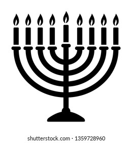 Hanukkah menorah candelabrum with nine lit candles flat vector icon for holiday apps and websites