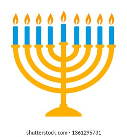 Hanukkah menorah candelabrum with nine lit candles flat vector color icon for holiday apps and websites