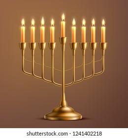 Hanukkah menorah jewish holiday symbol. Realistic golden candelabrum with candles on brown backdrop. Israel traditional religion symbol. Hebrew celebration invitation design. Vector illustration