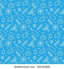 Hanukkah seamless pattern modern linear art design. Vector illustration
