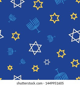 Hanukkah seamless vector pattern.  This pattern uses the Star of David, dreidels, and menorahs in a fun way. Great for packaging, wrapping paper, cards, stationary, and other holiday materials.