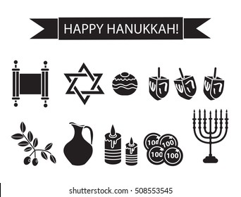 Hanukkah set black silhouette icons. Chanukah outline, silhouette Icons with Menorah, Torah, Sufganiyot, Olives and Dreidel.Festival of Lights, symbol. Vector illyustration