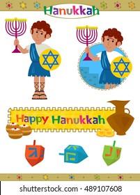 Hanukkah Set - Cute Hanukkah set with happy Hanukkah banner,dreidels and a Maccabeus soldier holds a menorah. Eps10