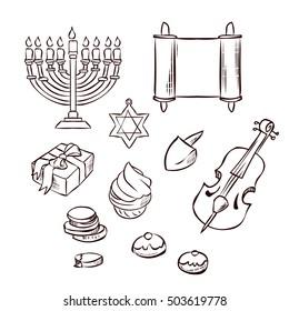 Hanukkah set. Hand drawn vector illustration.