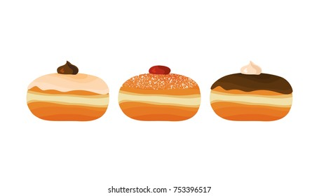 Hanukkah sufganiyot - traditional donuts for jewish holiday of Hanukkah, isolated on white background. Vector illustration.