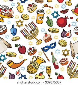 Hanukkah symbols seamless pattern.Doodle hand drawing Jewish Holiday object background.Watercolor blue splash.Sweets,menorah,star of David.Israel festival vector.Retro Illustration.Religious new year.
