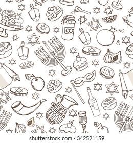 Hanukkah symbols seamless pattern.Doodle hand drawing Jewish Holiday objectbackground.Watercolor blue splash.Sweets,menorah,star of David.Israel festival vector.Retro Illustration.Religious new year.