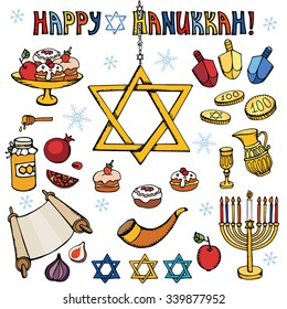 hanukkah symbols setdoodle hand drawing jewish holiday iconsdecoration elements setsweets