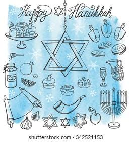 Hanukkah symbols set.Doodle hand drawing Jewish Holiday icons, objects set.Watercolor blue splash.Sweets,menorah,star of David.Israel festival vector.Retro Illustration.Religious new year.