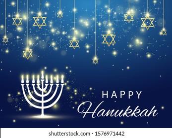 Hanukkah. Traditional Hanukkah holiday symbols. Star of David. Candles Minors. Blue background