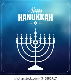 Hanukkah Typographic Vector Design  - Happy Hanukkah. Jewish holiday. Hanukkah Menorah on Light Blue Background