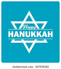 Hanukkah Typographic Vector Design - Happy Hanukkah Greeting Card with Jewish Star of David