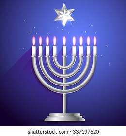 Hanukkah vector 3d candles, traditional religious holiday greeting card in silver colors