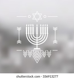 Hanukkah vector background with menorah with candles. Modern vector logo pictogram concept