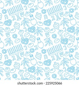Hanukkah Vector Seamless Pattern with Menorah, Sufganiot, Olives and Dreidel - Seamless pattern can be applied on different surfaces such as wallpaper, web page background, fabrics, plastic cases