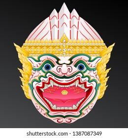 Hanuman head monkey mask. Vector