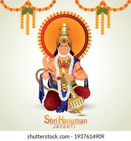Hanuman jayanti celebration greeting card and lord hanuman weapon
