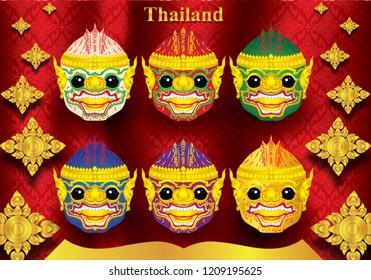 Hanuman Khao Thai Dance Thai Thai Silk Flower Background