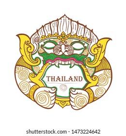 Hanuman king of monkey, thai traditional painting, tattoo