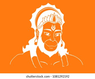 Hanuman negative space illustration art.