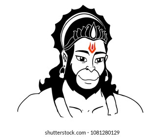 Hanuman vector design illustrated art.