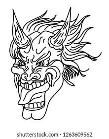 Hanya Demon mask Japanese style and design for tattoo.