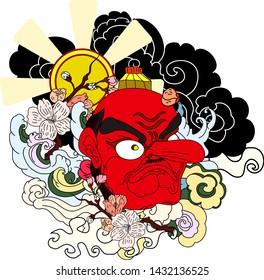 hanya demon mask with sakura and red sun on cloud tattoo.Japanese traditional art tattoo.Big nose monster mask.
