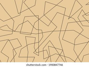 Haphazard brown lines on sand beige background. Abstract background vector. Random stripes.