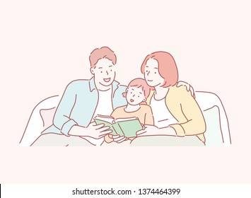Happiness asian family - Parent read book with child happily at home. Hand drawn style vector design illustrations.