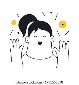 Happiness, delight, happy girl face. Cheerful cartoon lady in a great mood. Thin line vector illustration on white background.