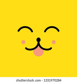 happiness face in the style of kawaii vector illustration