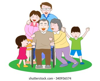 Happiness family around grandfather of the wheelchair
