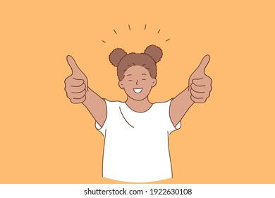 Happiness, happy childhood, positive emotion concept. Smiling cheerful girl african american standing and showing thumbs up signs with fingers over orange background vector illustration